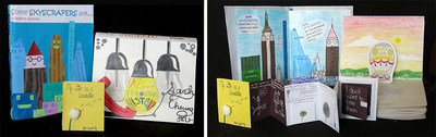 """City-wide winners of the 2016 Ezra Jack Keats Bookmaking Competition are, from left: """"Some Skyscrapers Are...,""""  by Roberto Quesada (Grade 5, P.S. 63, Old South School, Queens); A-Z Inventions Through History, by Sarah Cheung (Grade 8, I.S. 141, The Steinway School,  Queens); and My Life as a Dandelion, by Crystal Ng (Grade 10, Brooklyn Technical High School, Brooklyn). All winning books and honorable mentions will be exhibited at Brooklyn Public Library Central Library (at Grand Army Plaza), May 2-27."""