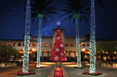 This four-story musical tree at the Fairmont Scottsdale Princess in Arizona is set with 70,000 LED lights that twinkle and dance to 17 songs, setting the stage for Princess Express Train rides through Lagoon Lights, a fantasy land with more than 3 million lights, along with the Desert Ice Skating Rink and holiday characters. The festival runs November 22, 2016 - January 1, 2017.