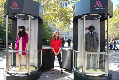 Fashion and lifestyle expert and host Louise Roe joins Marriott Hotels to introduce the most immersive 4-D virtual travel experience based in Oculus Rift technology. Beginning in New York today, the eight city U.S. tour will teleport adventure seekers to Hawaii and London. (PRNewsFoto/Marriott Hotels)