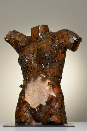 'Coexistentia'- A sculpture from Spain that portrays the story of a patient with Crohn's disease. The body is made of iron, representing the emotional armour that the patient constructs to protect themselves from the impact of the disease, and the intestinal area is made of marble, a hard and compact material, to symbolize the disease itself. Artist: Guillermo Ros Lluch. (PRNewsFoto/AbbVie) (PRNewsFoto/ABBVIE)