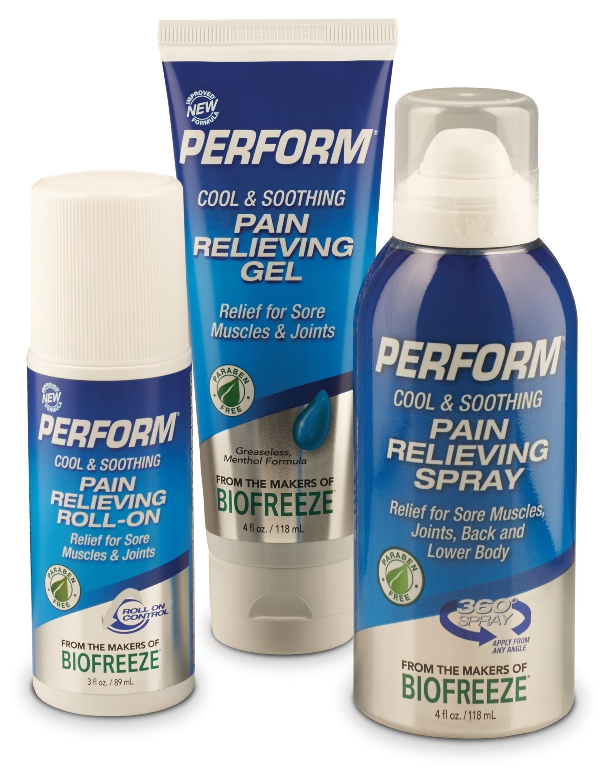 New and improved formula Perform(R) Pain Reliever-- a cooling topical used as an immediate relief for pain related to activity, injury or training.