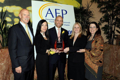 Rob Taylor, Awards Chair for Philanthropy Day 2010 and partner at Lambrides, Lamos, Taylor CPAs LLP, Alessandra Cavalluzzi, Senior Manager of Community Relations at MSC Industrial Supply Co, Inc. (MSC), Erik Gershwind, Executive Vice President and Chief Operating Officer of MSC, Jamie Bocklet, Community Relations Coordinator at MSC, Patricia Chambers Daly, Chair Philanthropy Day 2010 and Director of Development, Dominican Sisters of Amityville, celebrated the Philanthropy Day 2010 at the Association of Fundraising Professionals Long Island Chapter (AFPLI) Awards Luncheon.  MSC was honored with the 2010 Outstanding Corporation Award for its commitment to philanthropy.  (PRNewsFoto/MSC Industrial Supply Co. Inc.)