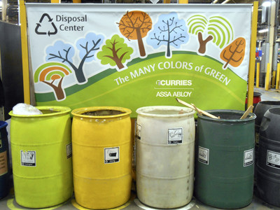 Recycle stations have been set up throughout the Curries plant to organize leftover material.