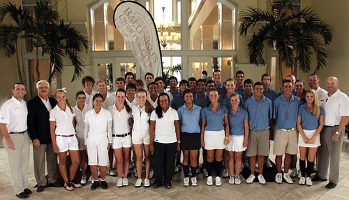 Golf's next generation of rising stars who competed in the 2012 BallenIsles Junior Cup are flanked at left ...