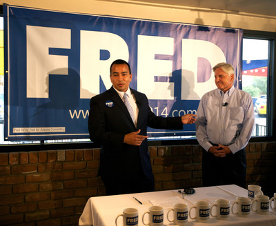 Left to right:  Phoenix City Councilman and campaign chairman Daniel Valenzuela with Fred DuVal, Arizona Gubernatorial Candidate for 2014.  (PRNewsFoto/Fred DuVal for Governor 2014)