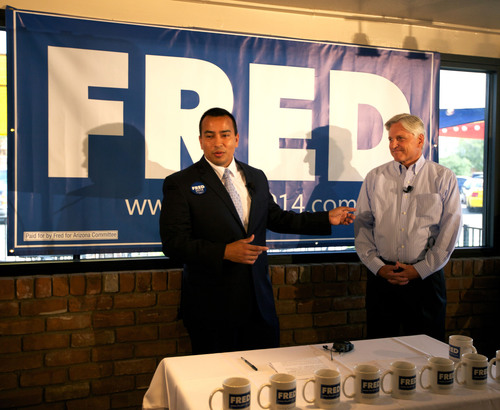 Left to right:  Phoenix City Councilman and campaign chairman Daniel Valenzuela with Fred DuVal, Arizona ...