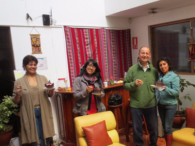 Andrew Jablonski, 68-year-old Canadian engineer, enjoys a surprise birthday with the staff in Cusco, Peru