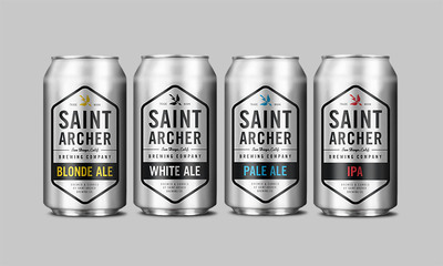 Saint Archer Brewing Company has released four core beers in 12-ounce cans from Ball Corporation.  (PRNewsFoto/Ball Corporation)