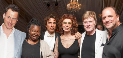 "Alexander Shustorovich, Whoopi Goldberg, Carlo Ponti, Sophia Loren, Robert Redford and Barrett Wissman enjoy the ""Bella Italia!"" Tribute to Sophia Loren at the Ninth Annual Napa Valley Festival del Sole.  Source: IMG Artists. (PRNewsFoto/IMG Artists)"