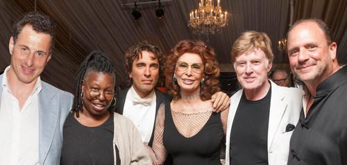 Alexander Shustorovich, Whoopi Goldberg, Carlo Ponti, Sophia Loren, Robert Redford and Barrett Wissman enjoy ...