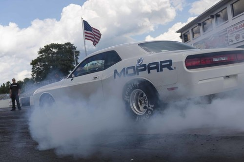 Mopar previews 2015 Mopar Challenger Drag Pak Test vehicle at NHRA U.S. Nationals. (PRNewsFoto/Chrysler Group ...