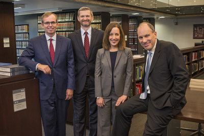 (left to right) Craig C. Martin, Chair of Jenner & Block's Litigation Department, and the University of Chicago School of Law's Thomas J. Miles, Dean and Clifton R. Musser Professor of Law, Sarah M. Konsky, Assistant Clinical Professor, and David A. Strauss, Gerald Ratner Distinguished Service Professor of Law. Photo credit: Lloyd DeGrane, University of Chicago Law School.