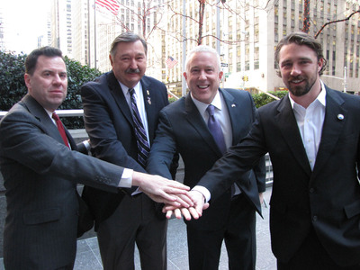 Intrepid Fallen Heroes Fund President David Winters; Jeff Roy, First Vice President of the Military Order of the Purple Heart Service Foundation; Bill White, CEO of Constellation Group; and Pete Scobell, former Navy SEAL and NICoE success story, in New York City for the announcement of a $500,000 donation to fund a NICoE Satellite Center at Fort Bragg, NC to diagnose and treat Traumatic Brain Injury and Post Traumatic Stress in Military Heroes. (PRNewsFoto/Intrepid Fallen Heroes Fund) (PRNewsFoto/INTREPID FALLEN HEROES FUND)