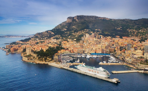 Crystal Symphony in Monte Carlo, just one of 50 European ports in which Crystal Cruises will begin offering private car, driver, and guide excursions ashore this year.  (PRNewsFoto/Crystal Cruises)