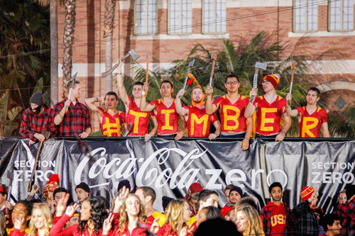 TIMBER!!! Brought together by a common link, ScentSicles scented ornaments (which smell like a fresh-cut tree) and the USC Knights spirit organization (which wanted to chop down the Stanford tree) partnered to wear lumberjack gear, promote #Timber and help spur the USC Trojans on to victory on Saturday.  Looks like the unlikely partnership worked as unranked USC defeated #4 Stanford!  (PRNewsFoto/ScentSicles Scented Ornaments)