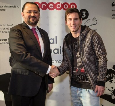 Waleed Al Sayed, Deputy Group CEO, Ooredoo and Lionel Messi (Launch of Together We Do Wonders Campaign)