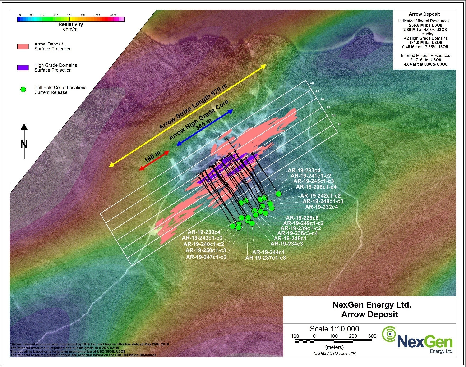 Figure 3: Arrow Deposit Drill Hole Locations (CNW Group/NexGen Energy Ltd.)