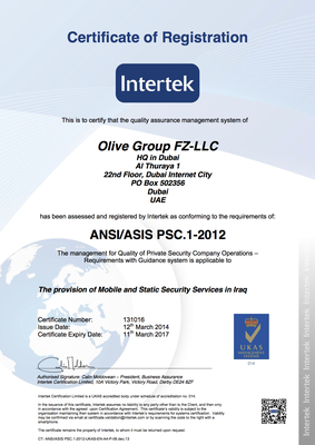 Olive Group is First Private Security Company to be Awarded Accredited Certification to the Private Security Standard (PSC1): a Key Milestone for the Company and the Industry