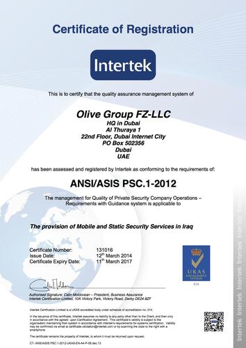 PSC 1 certificate (PRNewsFoto/Olive Group FZ-LLC)