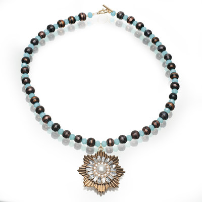 Artistic Falls Black/Amber Lamp Work Beads and Blue Glass Beaded Necklace with Brass Pendant