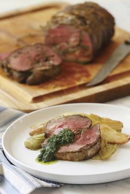 Roasted Boneless Leg of American Lamb with Fingerling Potatoes, Leeks and Mint Salsa Verde