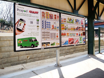 For the first time in the United States, Peapod, the nation's largest internet grocer, is using Titan's transit advertising to get the word out about its mobile app for Philadelphia residents.  Once Peapod's mobile app is downloaded, people can shop smarter and faster -- wherever they are.  (PRNewsFoto/Titan)