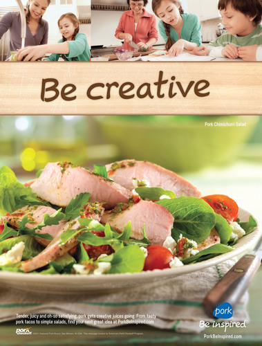 Pork® Be inspired(SM) print advertising begins in April in food and lifestyle publications, using three consecutive right-hand pages to communicate pork's ability to inspire numerous meal ideas.  (PRNewsFoto/National Pork Board)