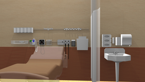 """3D Rendering of """"Fairfield"""" Style Evolution Rail in a Hospital  (PRNewsFoto/Paladin Medical Products LLC)"""