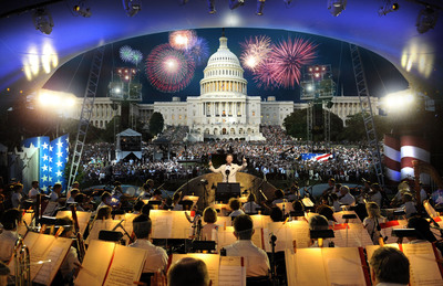 Mark Ballas and Chelsie Hightower from Dancing with the Stars join the all-star cast of A Capitol Fourth on PBS July 4 at 8/7C.  (PRNewsFoto/Capital Concerts)