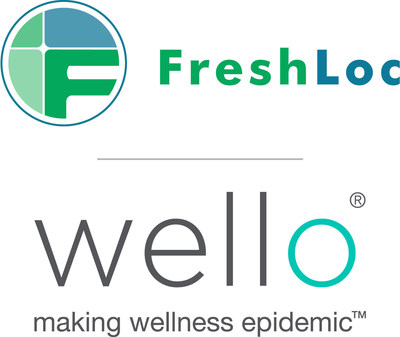 FreshLoc and Wello Logo for FreshLoc Technologies and its wholly owned subsidiary, Wello Inc., making wellness epidemic, always innovating. See freshloc.com and welloinc.com. 3939 Belt Line Road, Suite 400, Addison, TX, 75001; Phone: 972-759-0111 OR 888-225-9458 (PRNewsFoto/Wello Inc.)
