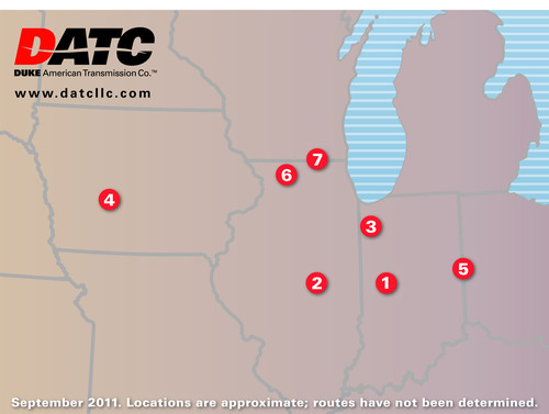 Duke-American Transmission Co. map of proposed transmission projects announced Sept. 12, 2011.  ...