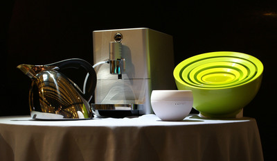 "2013 Housewares Design Awards Winners (from left to right): ""Best of the Best - Gold"" - Nambe Chirp Kettle; ""Best of the Best - Silver"" - Jura ENA Micro 9 One Touch; ""Best of the Best - Bronze"" - Swizz Style Jasmine Aroma Diffuser; and, ""Green House"" Design Award - Simple Wave Calibowl Non-Spill 5-Piece Iconic Mixing Bowl Set.  (PRNewsFoto/Housewares Design Awards LLC)"