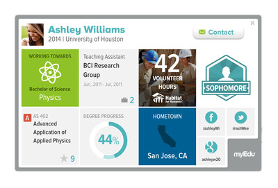MyEdu Student Profiles allow students to visually highlight their skills, talents, and experiences allowing them to further connect with peers and employers.