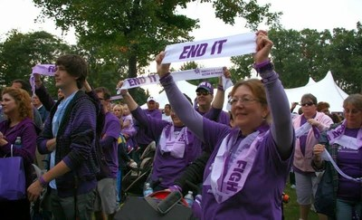 Previous years PurpleStride Detroit event participants raising awareness about pancreatic cancer