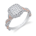 "The diamond, platinum and 18K rose gold ""Romantic Entwined Ring"" is set with a central cushion-cut diamond surrounded and accented by 204 round-cut diamonds. Total weight of all diamonds is 3.70 carats. Designed and signed by Neil Lane.  (PRNewsFoto/Warner Horizon)"