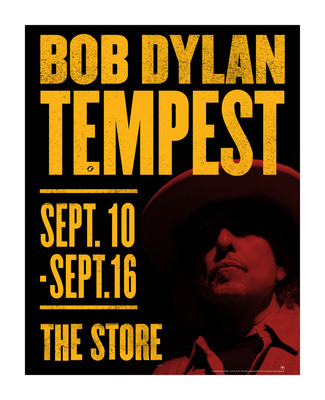 New Bob Dylan Album, Tempest, Coming September 11.  Tempest Pop-Up Stores Opening In New York, London and Los Angeles from September 10 - September 16.  (PRNewsFoto/Columbia Records)