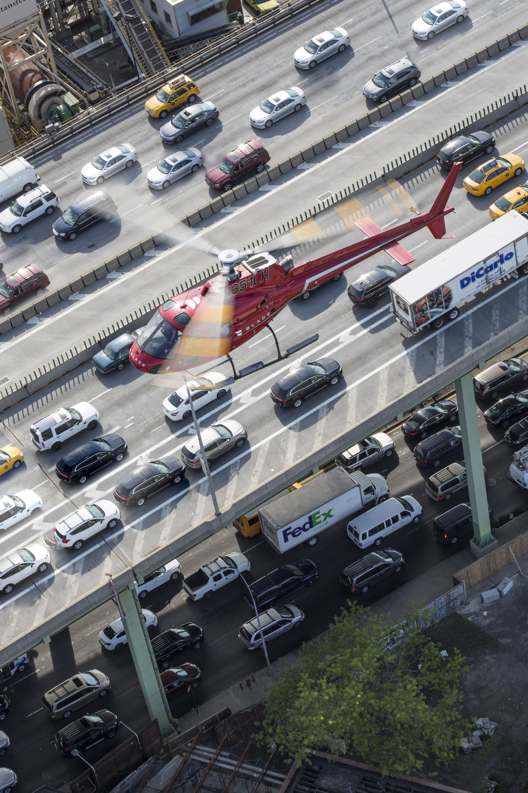 Blade Helicopter over NYC Traffic