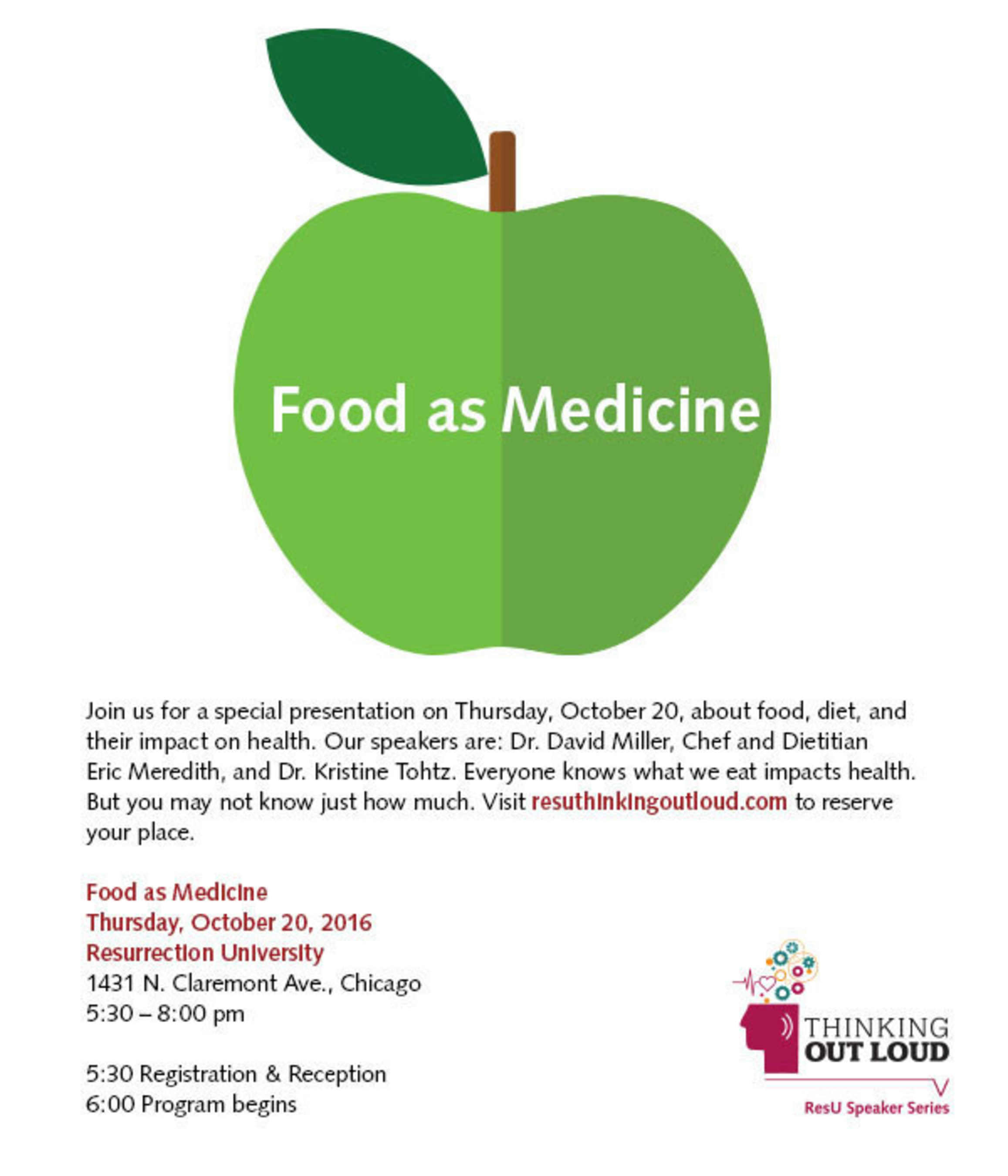 Thinking Out Loud: Food as Medicine on October 20th