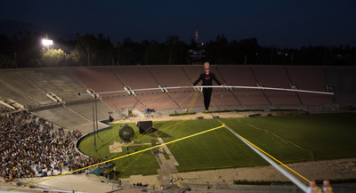 Bello Nock Traverses High Wire High Above Iconic Rose Bowl Stadium (Photo courtesy of Mandt Bros. Productions). (PRNewsFoto/Bello Nock)