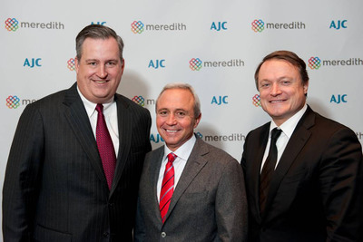 Meredith Chairman and CEO Stephen Lacy (center) stands with Meredith National Media Group President Tom Harty (left) and President & CEO of L'Oreal USA Frederic Roze (right), at a reception honoring Lacy as the recipient of the AJC's National Human Relations Award.  (PRNewsFoto/Meredith Corporation)