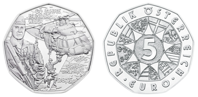 The silver 5 Euro coin by the Austrian Mint commemorates the Austrian Bundesheer's 60th anniversary in May 2015. The BLACK HAWK helicopter has become an iconic emblem of the Bundesheer's success. Austrian Mint image.