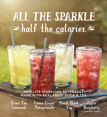 Caribou Coffee Company today announced the introduction of four Lite Sparkling Teas and Juices made with real fruit and tea and features half the amount of calories. The new delicious and refreshing lite drinks, available in four flavors - Green Tea Lemonade, Peach Black Tea, Lemon Ginger Pomegranate and the limited-time, Apple Raspberry - are meant to be enjoyed by fans as they relish all that summer has to offer. To celebrate the new drink Caribou guests who purchase a reusable tumbler Monday, May 13 through Monday, May 27 will receive a free sparkling beverage in their new tumbler.  (PRNewsFoto/Caribou Coffee Company, Inc.)