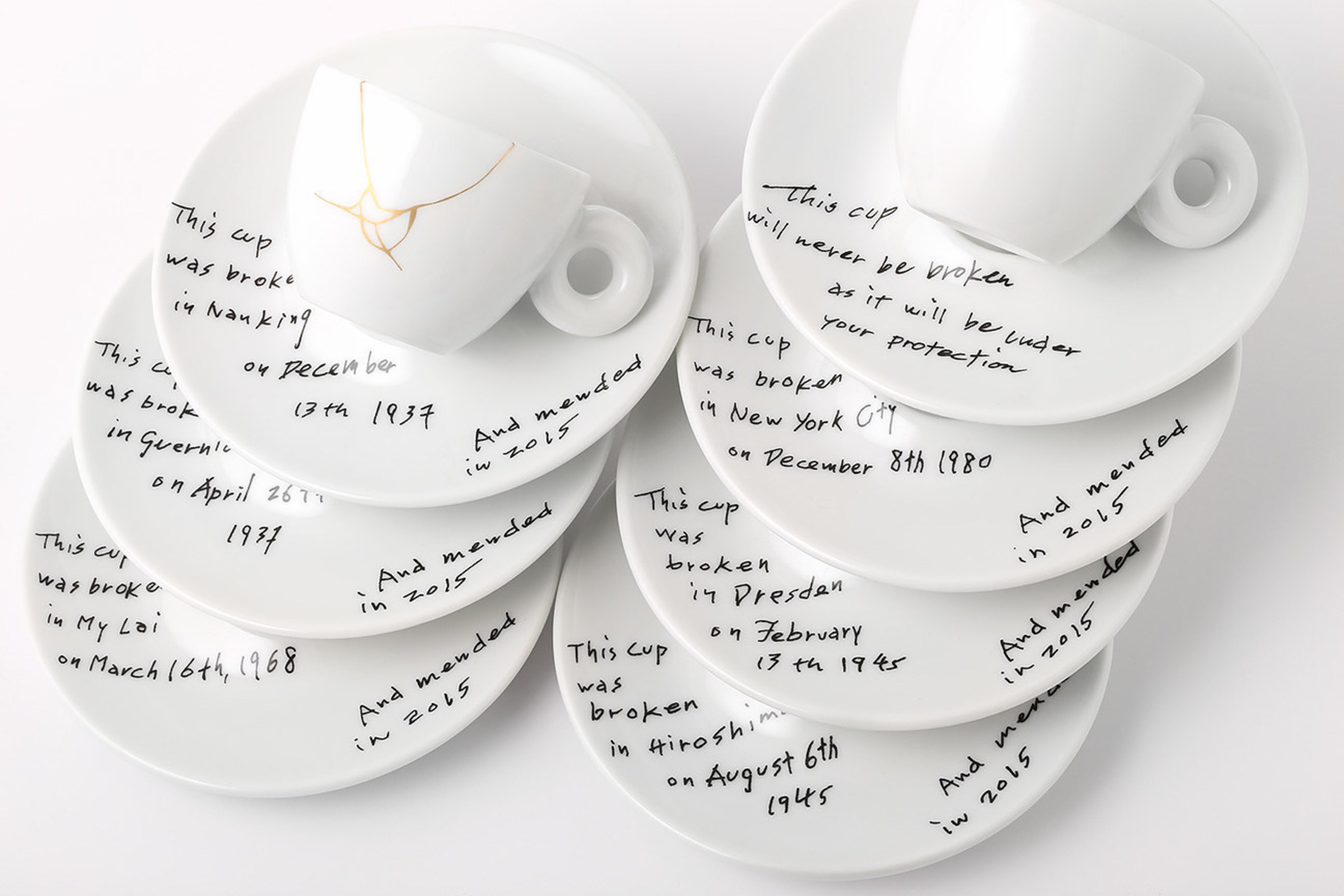 Yoko Ono: Mended Cups - illy Art Collection will be live on http://www.moma.org on 5/8. *Image provided by illy North America showing the newest collaboration for the illy Art Collection of espresso cups and saucers