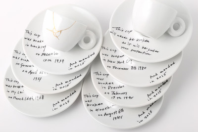 Yoko Ono: Mended Cups - illy Art Collection will be live on https://www.moma.org on 5/8. *Image provided by illy North America showing the newest collaboration for the illy Art Collection of espresso cups and saucers