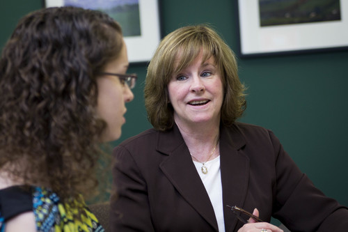 Anne Scholl-Fiedler, Vice President for Career Services at Stevenson University in Maryland, discusses job search strategies with college senior Morgan Buckingham. (PRNewsFoto/Stevenson University)
