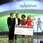 """""""The IsaBody Challenge changed my life,"""" says Amyra, who was named the 2014 IsaBody Challenge Grand Prize Winner at the Isagenix annual flagship event, Celebration, on Tuesday, Aug. 26, at the San Diego Convention Center. After retiring from professional cheerleading, Amyra was active in fitness, yet embarrassed with her physique. As a former Tampa Bay Buccaneers NFL Cheerleader and current group fitness instructor, Amyra knew how important it was to be in peak physical condition. (PRNewsFoto/Isagenix)"""