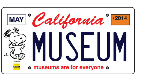 "The California license plate features a Snoopy drawing by Charles Schulz and the phrase ""museums are for ..."