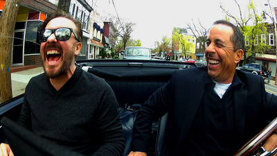 """Ricky Gervais and Jerry Seinfeld in """"Comedians in Cars Getting Coffee.""""  (PRNewsFoto/Crackle, Inc.)"""