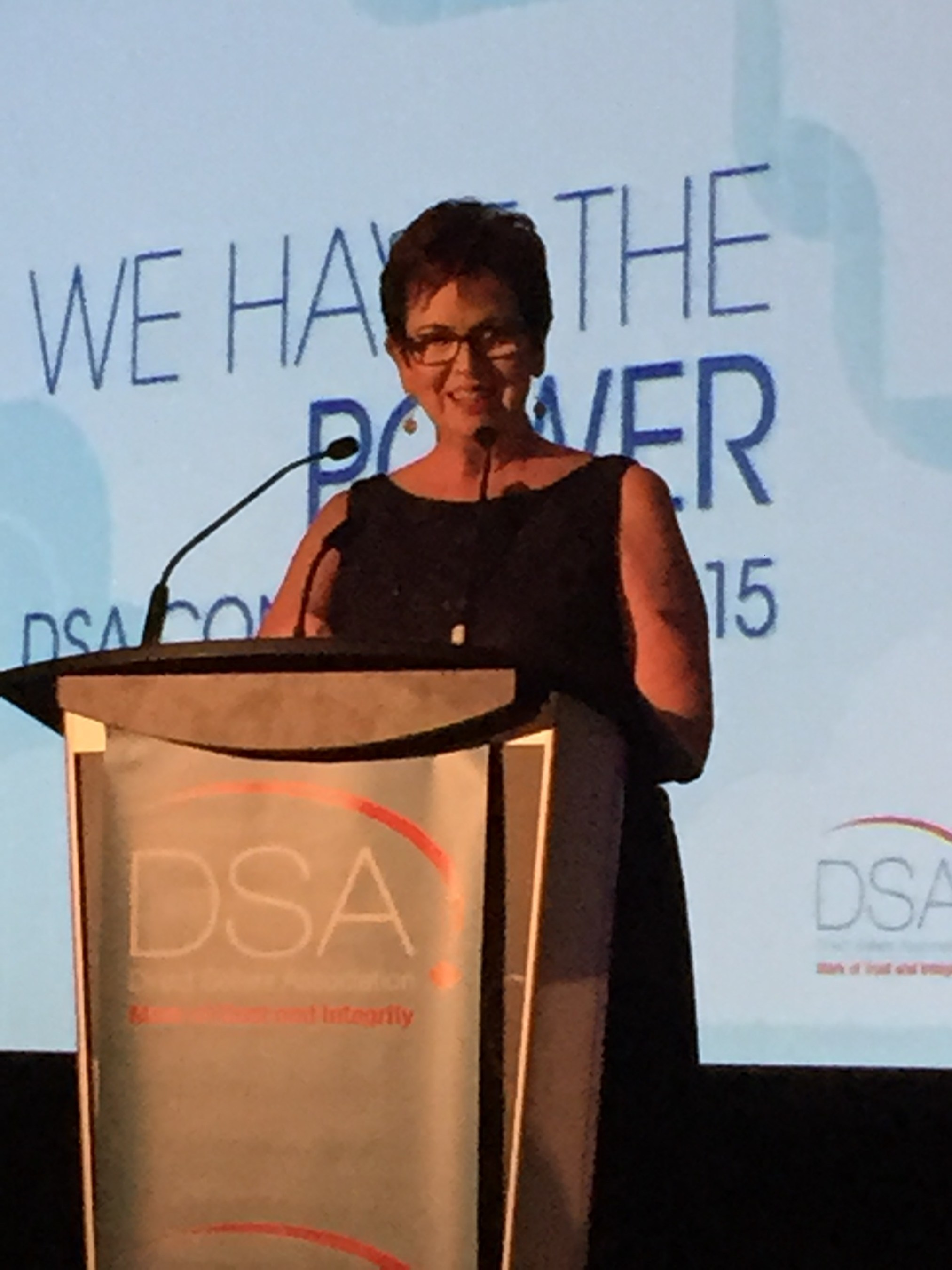 "PartyLite's Debby Richardson accepting the Direct Sellers Association of Canada ""Mark of Distinction"" Award"