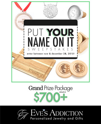Win Personalized Holiday Gifts with the Put Your Name On It Sweepstakes by Eve's Addiction